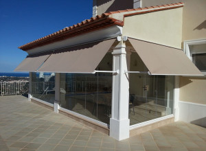 Drop Arm motorised awnings